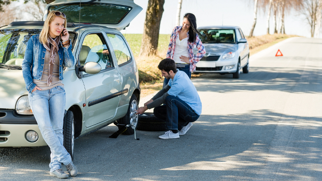 Japanese businessman slashing up tires to pick up girls